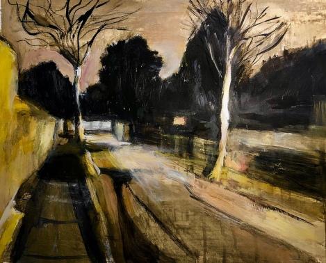 Olivia Adamczyk O'Sullivan: London street scene at dusk.