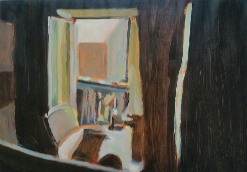 painting of domestic interior with window