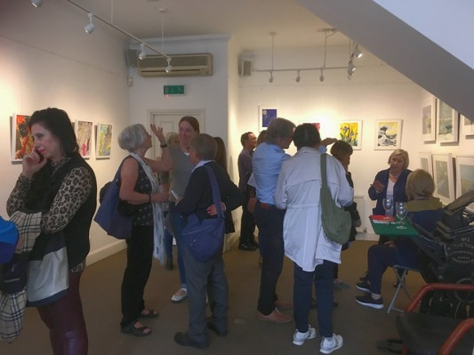 people at prvate view in gallery